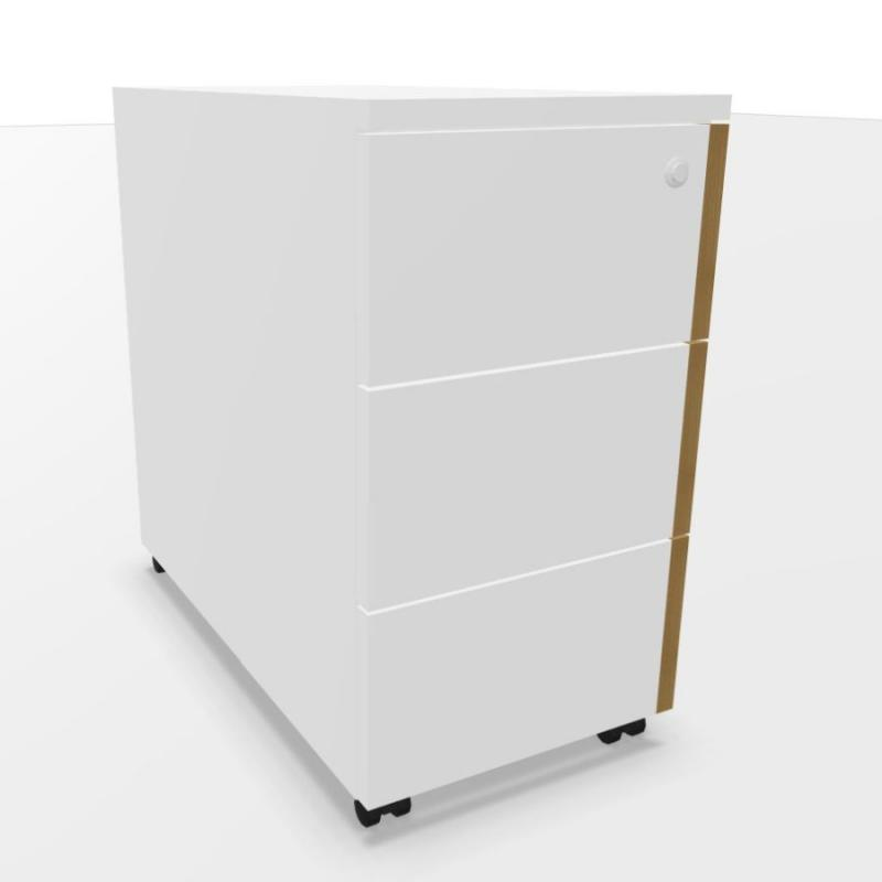 ECO Pedestal With 3 Drawers, White Laminate
