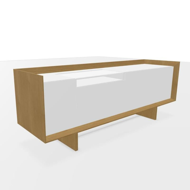 ECO Sideboard With Hinged Doors & Filing Drawers, 220x60x81cm, Oak