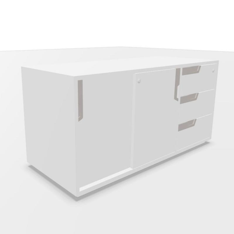 ECO Sideboard With Sliding Doors & Drawers, 120x50x58cm, White Laminate
