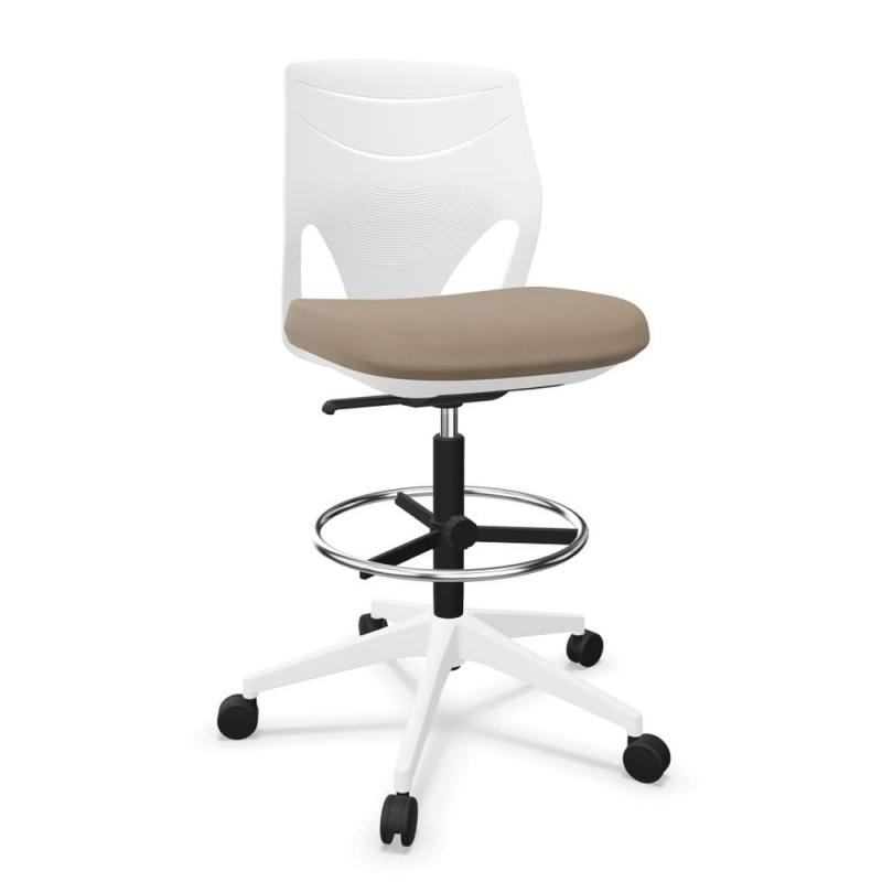 Efit Office Chair, Low Back, White Backrest / Beige Upholstered Seat / White Base