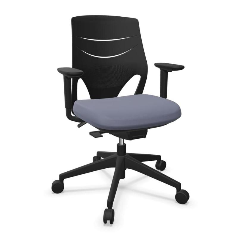 Efit Office Chair, Medium Back, Black Backrest / Grey Upholstered Seat / Black Base