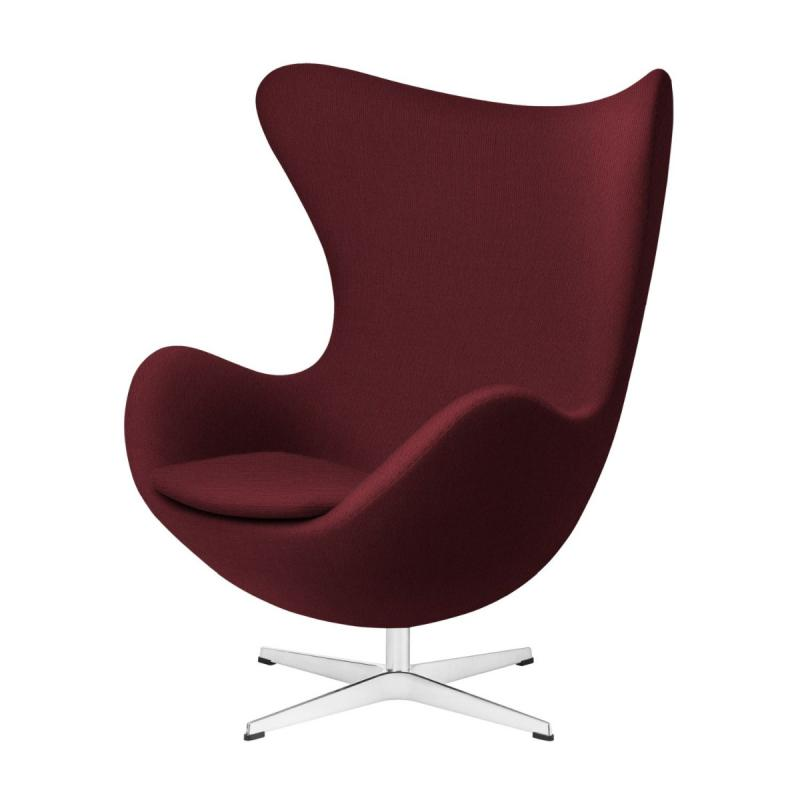 Egg Lounge Chair, Dark Red Upholstery/Satin Polished Steel Base