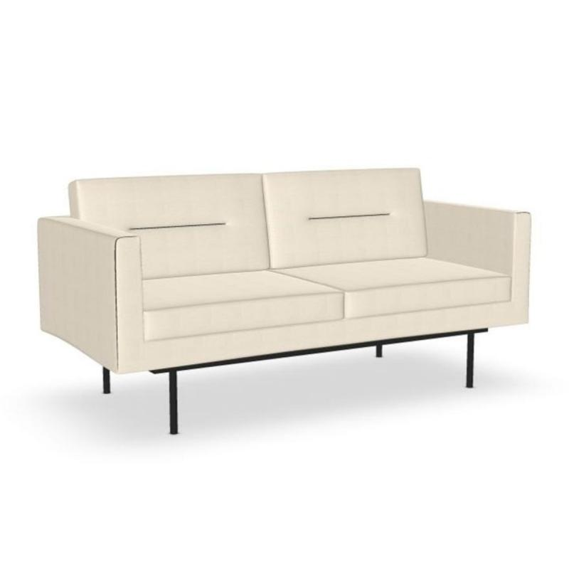 Element Sofa, 2-Seater, White Upholstery / Black Metal Legs