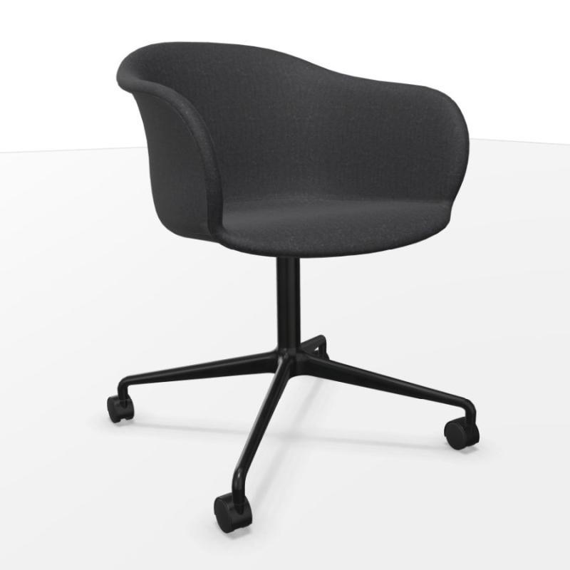 Elefy Chair JH37, Black Fabric Upholstery / Black Swivel Base With Castors
