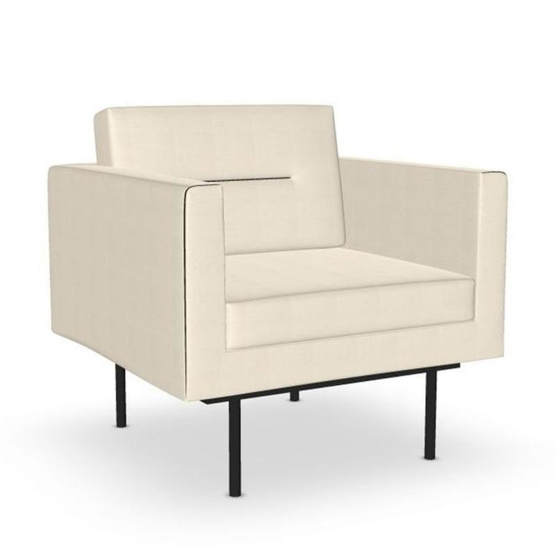 Element Lounge Chair, White Upholstery / Black Tube Legs