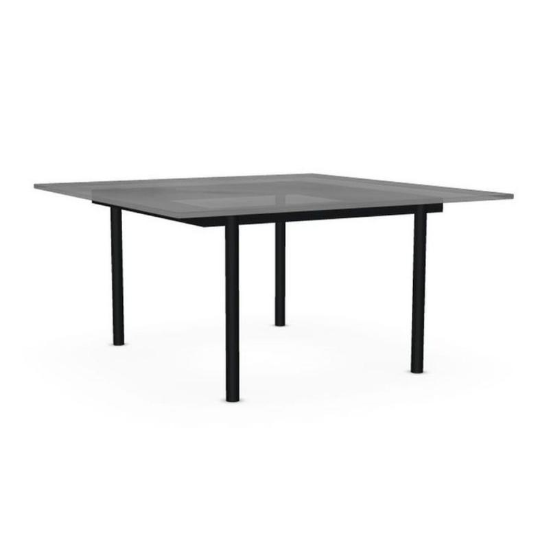 Element Side Table 37, 75x75cm, Transparent Glass Top / Black Base