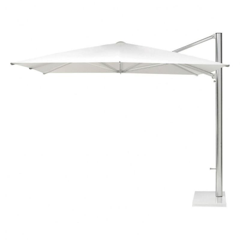 Shade Parasol, 3x3m, White, With Side Pole & Crank, With Cover