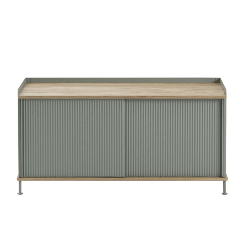 Enfold Sideboard, Low, Oak / Dusty Green