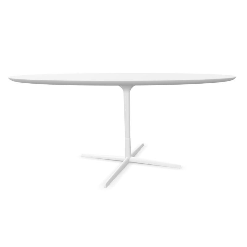 Eolo Table, Ø160cm, White MDF Top / White Base