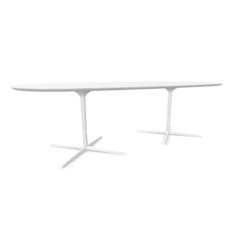 Eolo Table, 250x121cm, White MDF Top / White Double Base
