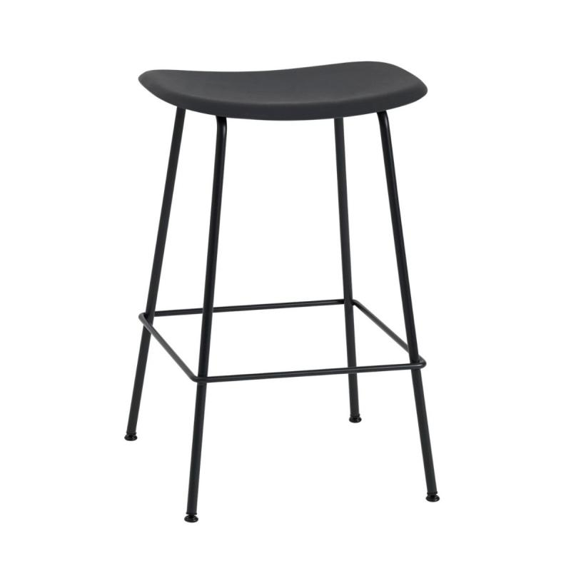 Fiber Bar Stool With Backrest, H65 cm, Tube Base, Black Seat / Black Base