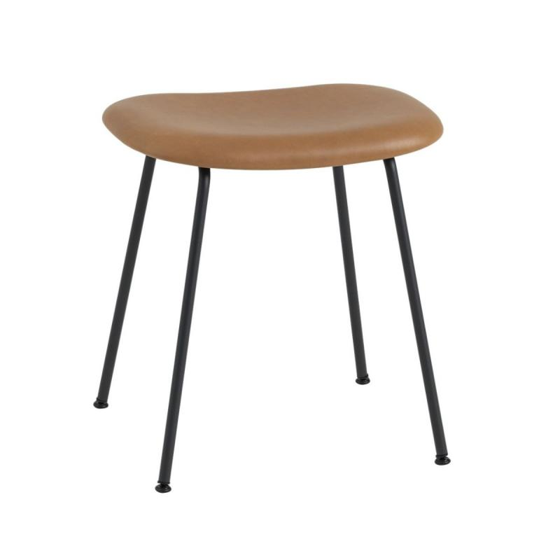 Fiber Stool, H45cm, Tube Base, Cognac Leather Seat / Black Base