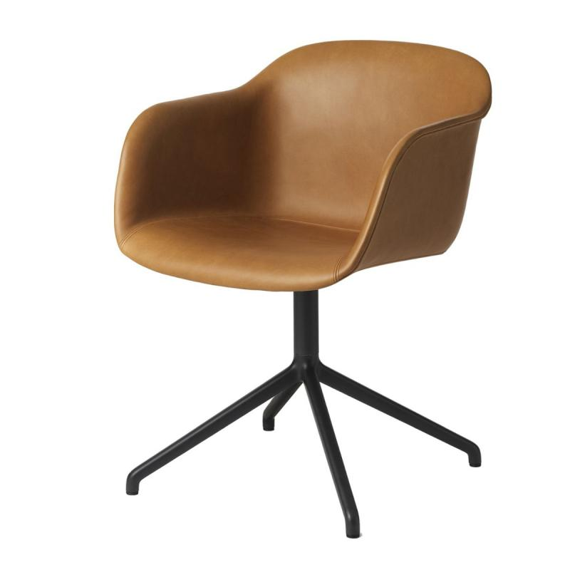 Fiber Armchair, Swivel Base, Cognac Leather Shell / Black Base