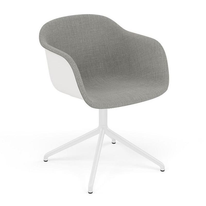 Fiber Armchair, Swivel Base, Front Upholstery, Light Grey Fabric / White Shell / White Base