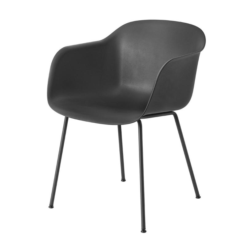 Fiber Armchair, Tube Base, Black Shell / Black Base