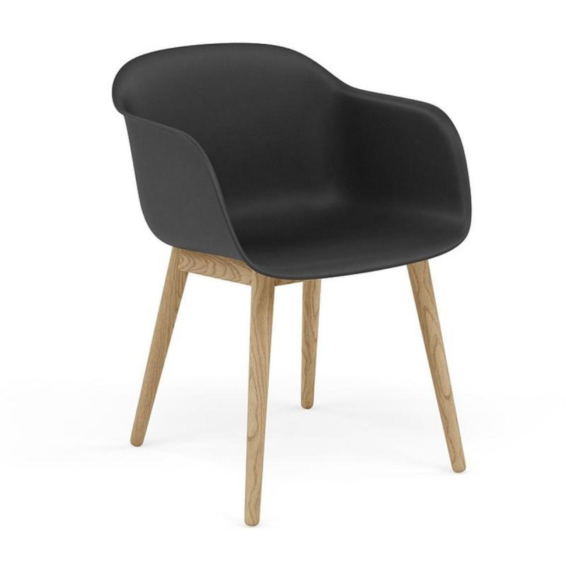 Fiber Armchair, Wood Base, Black Shell / Oak Base