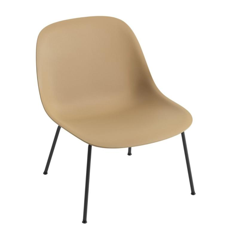 Fiber Lounge Chair, Tube Base, Ochre Shell / Black Base