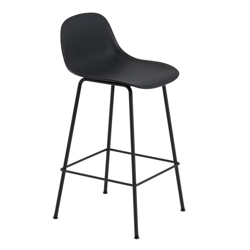 Fiber Bar Stool With Backrest, H65 cm, Tube Base, Black Seat / Black Base