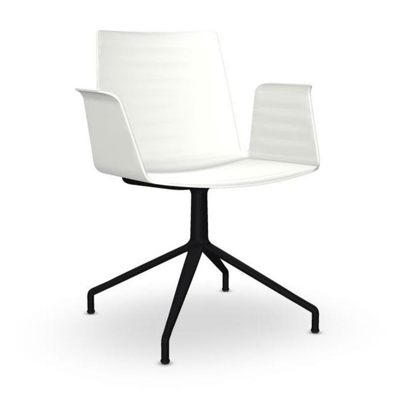 Flex Armchair, White Shell / Black Swivel Base