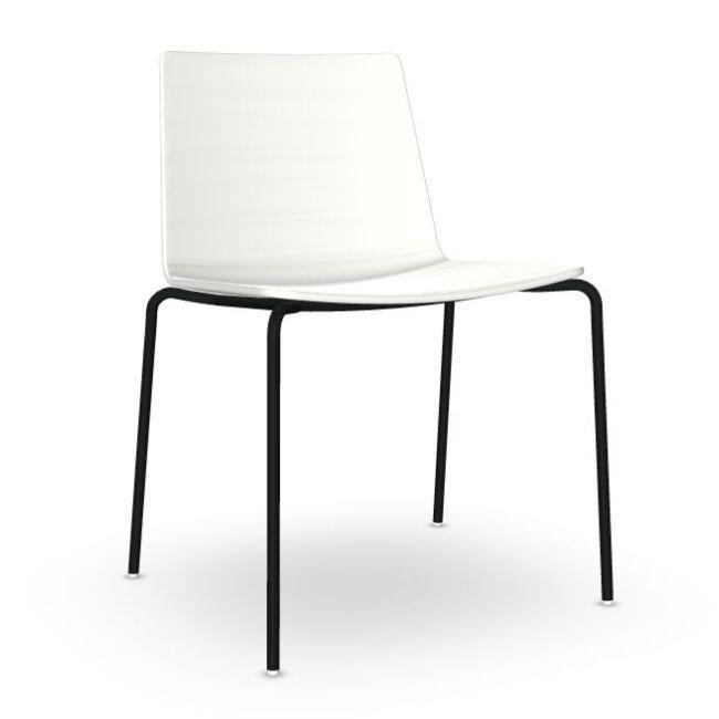 Flex Chair, White Shell / Black Tube Base
