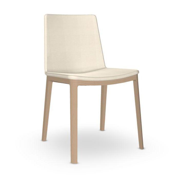 Flex High Back Chair, White Upholstery / Beech Legs