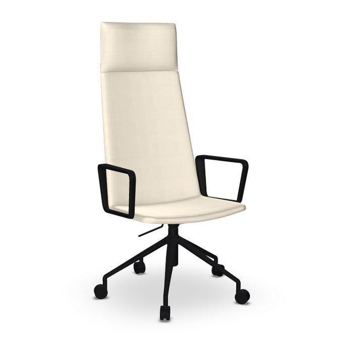 Flex Executive Armchair, White Upholstery / Black Swivel Base