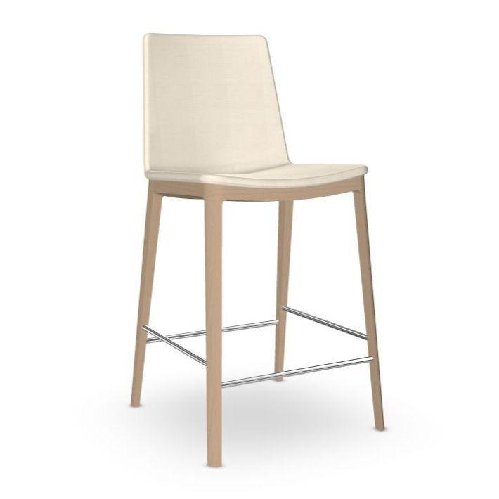 Flex High Back Counter Stool, White Upholstery / Beech Legs