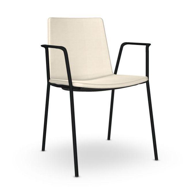 Flex High Back Armchair, White Upholstery / Black Tube Base