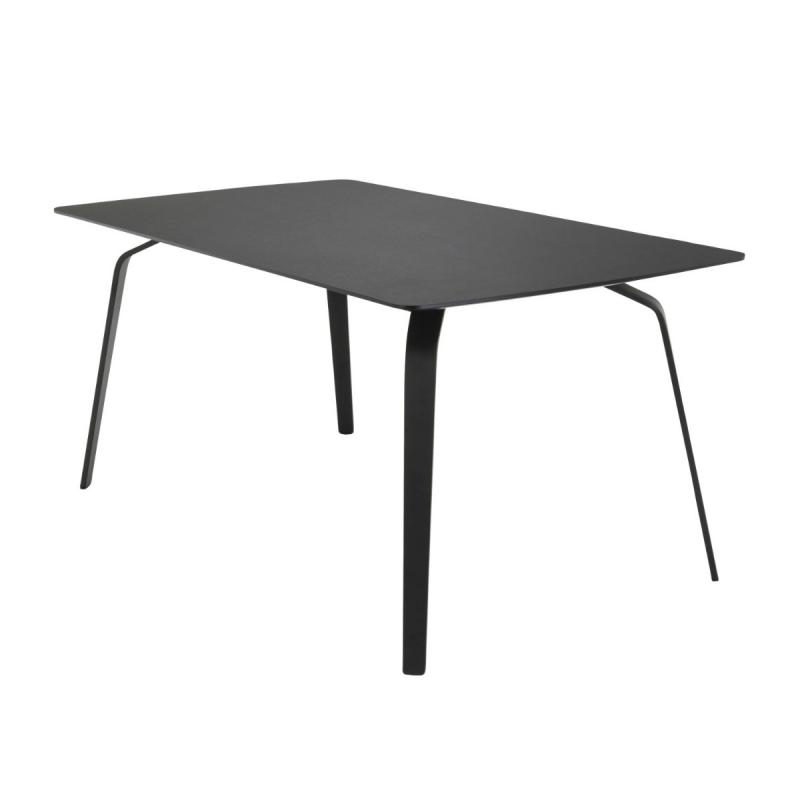 Float Table, 168x95cm, Black Linoleum Top / Black Metal Legs