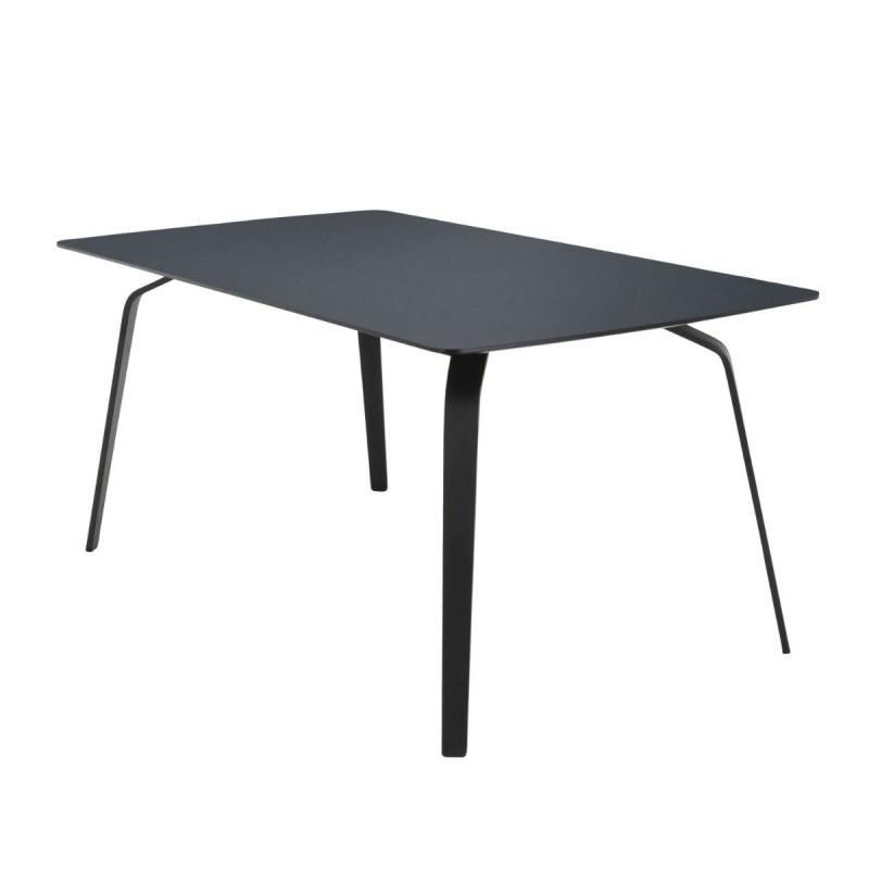 Float Table, 168x95cm, Smokey Blue Linoleum Top / Black Metal Legs