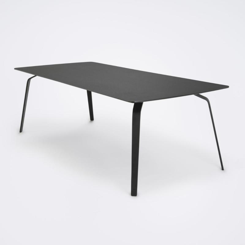 Float Table, 208x95cm, Black Linoleum Top / Black Metal Legs