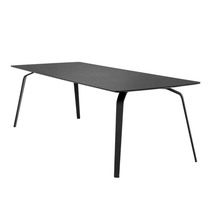 Float Table, 242x95cm, Black Linoleum Top / Black Metal Legs
