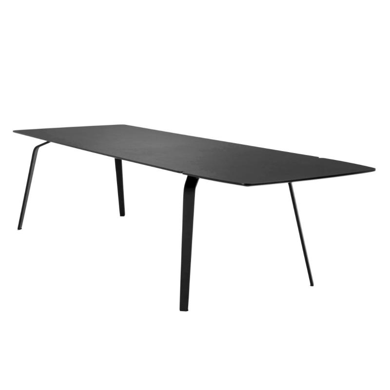 Float Table With Extension Set, 168(+50x2)x95cm, Black Linoleum Top/Black Metal Legs