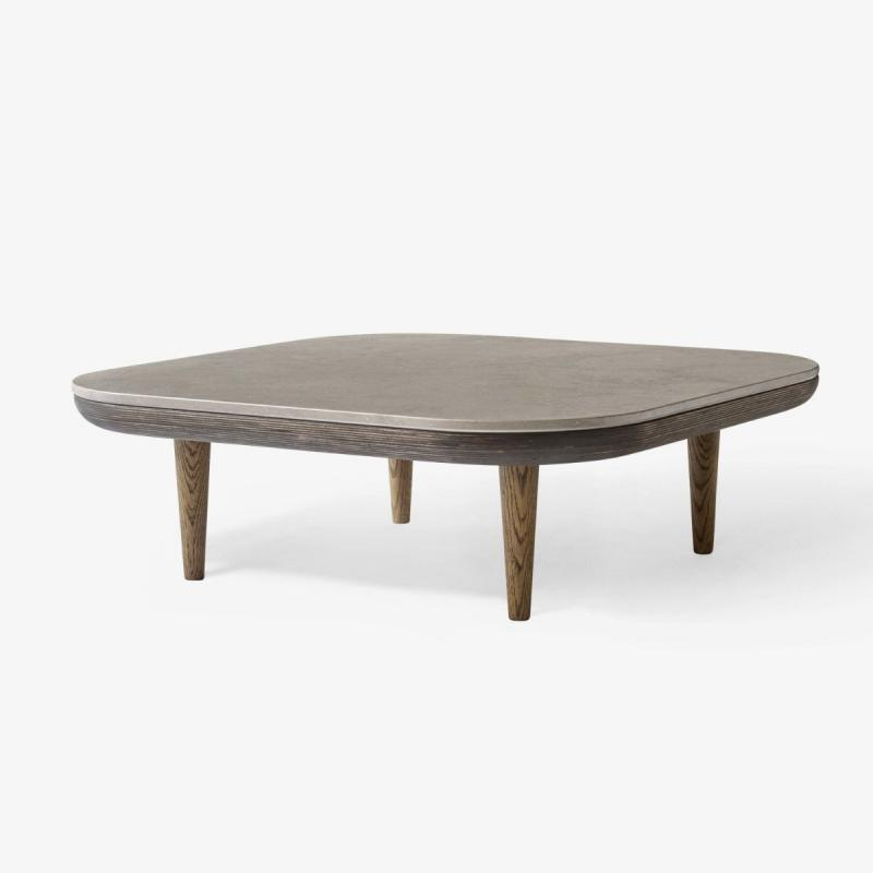 Fly Table SC4, Brown Marble Top / Smoked Oak Base