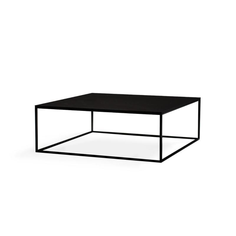 Frame Low Table, 100x100cm, Black Top / Black Metal Frame
