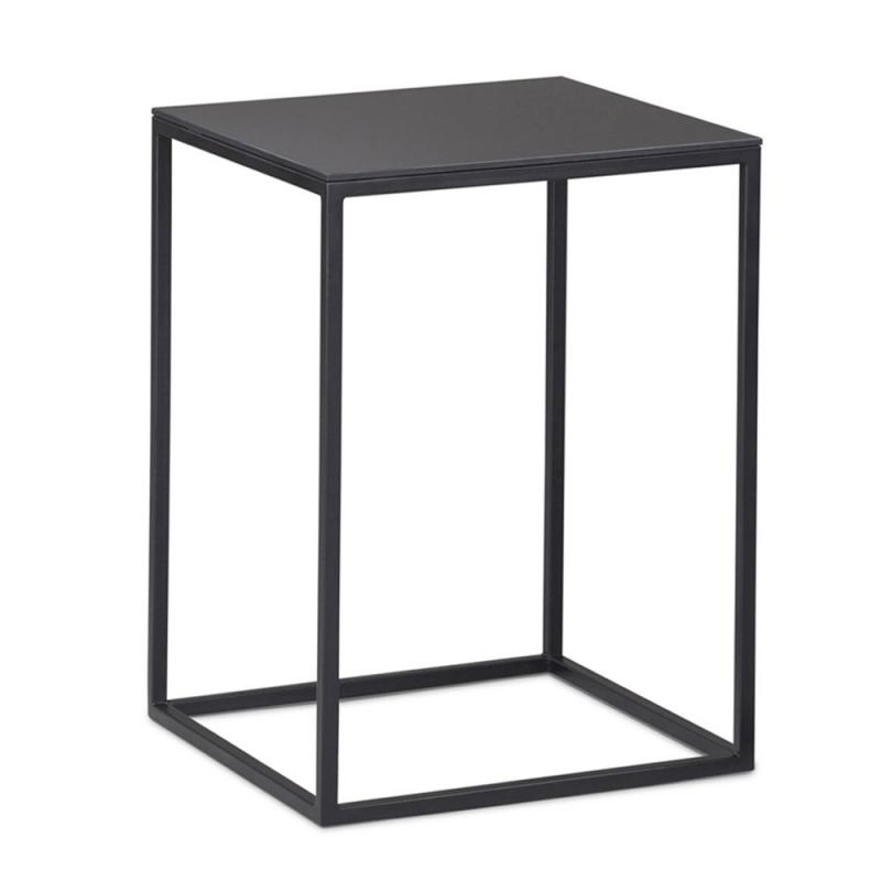 Frame Low Table, 40x40cm, Low Version, Black Top / Black Metal Frame