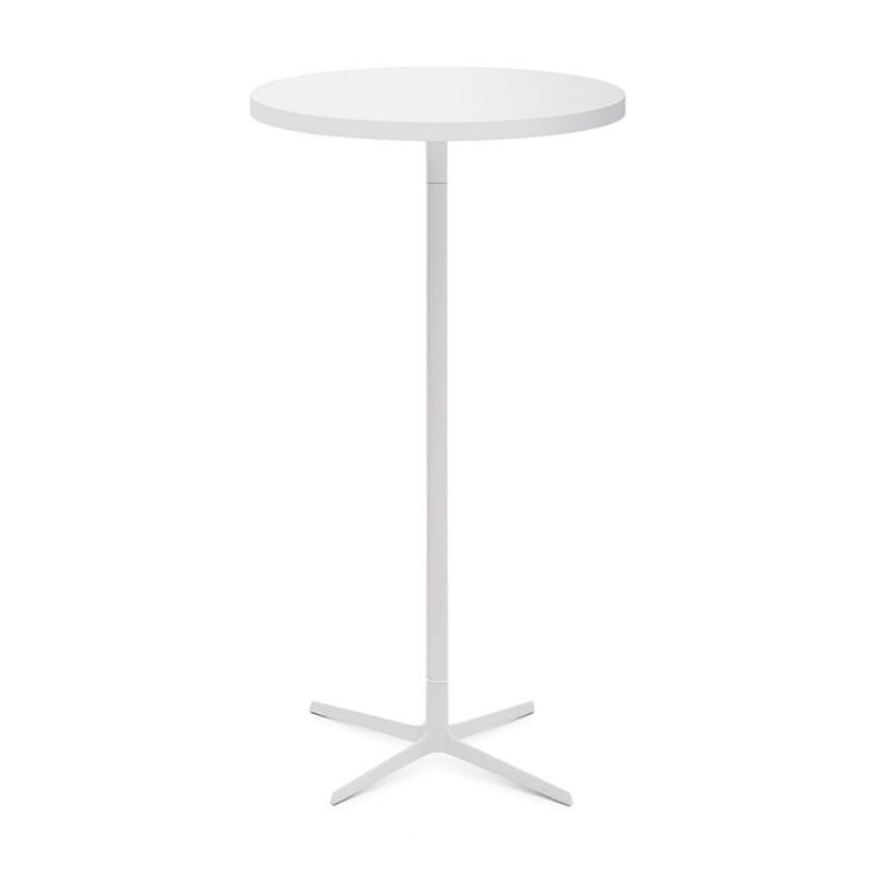 Fred High Table, Ø80cm, White MDF Top / White Base