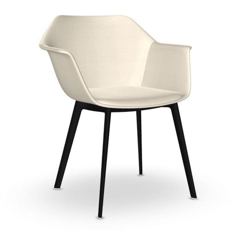 Gala Armchair, White Upholstery / Black Tube Base