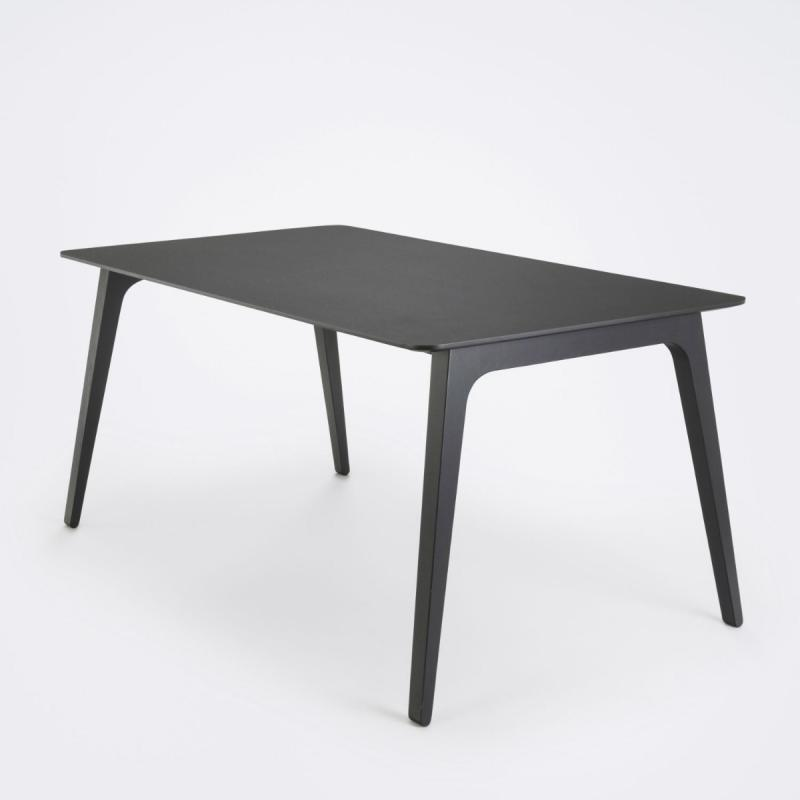 Gate Dining Table, 208x95cm, Black Linoleum Top / Black Stained Ash Legs
