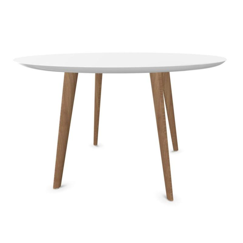 Gher Table, Ø120cm, White MDF Top / Oak Base