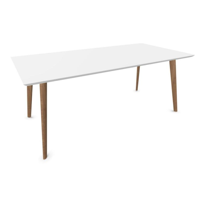 Gher Table, 180x90cm, White MDF Top / Oak Base