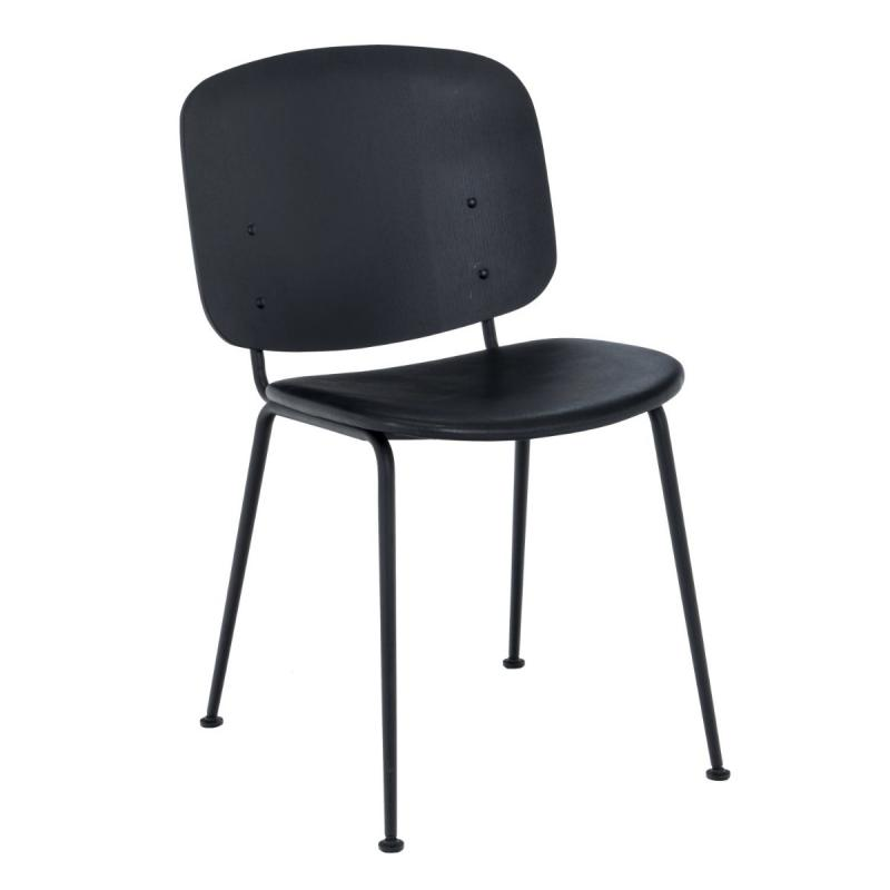Grapp Dining Chair Without Armrests, Black Back / Black Leather Seat / Black Metal Frame