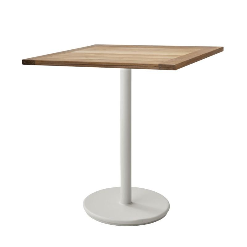 Go Cafe Table, 72x72cm, Teak Top / White Base
