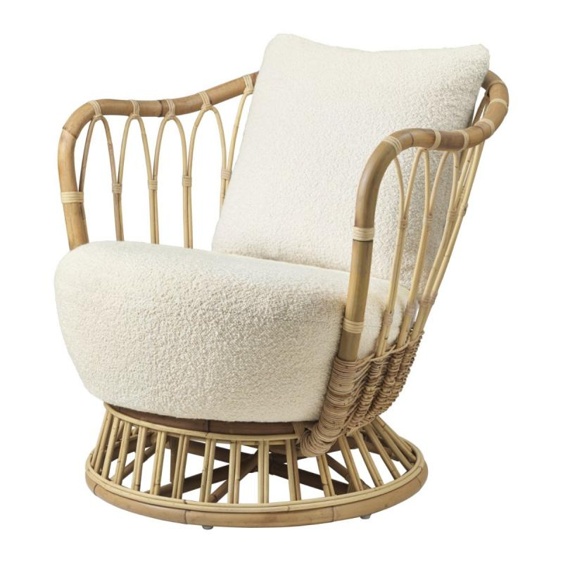 Grace Lounge Chair, Cream White / Rattan