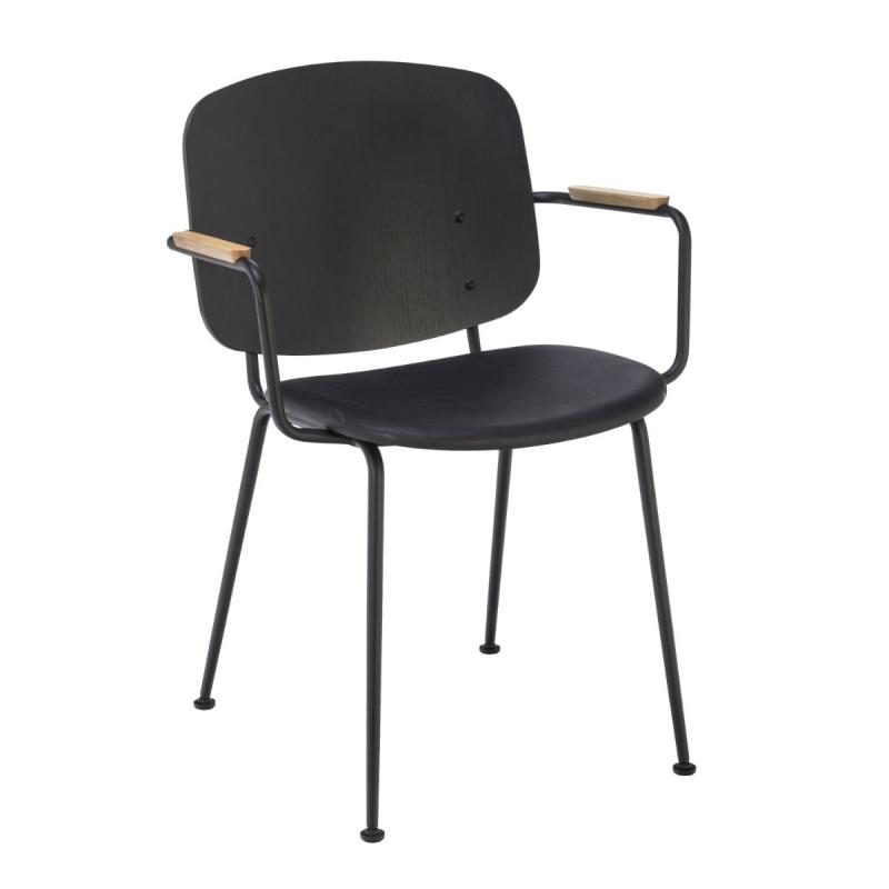 Grapp Dining Chair With Armrests, Black Back / Black Leather Seat / Black Metal Frame