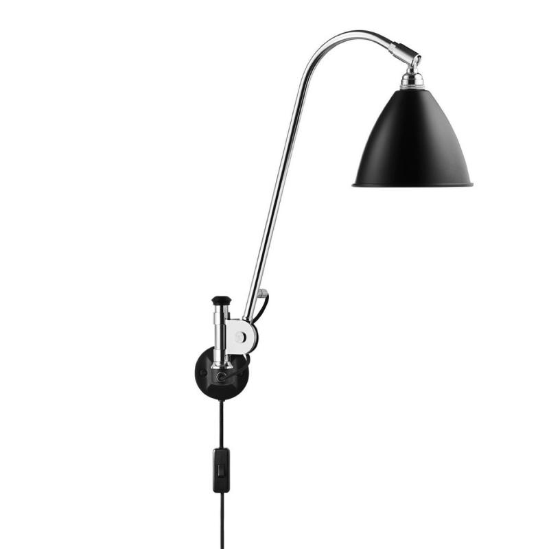 Bestlite BL6 Wall Lamp, Black Shade / Chrome Base