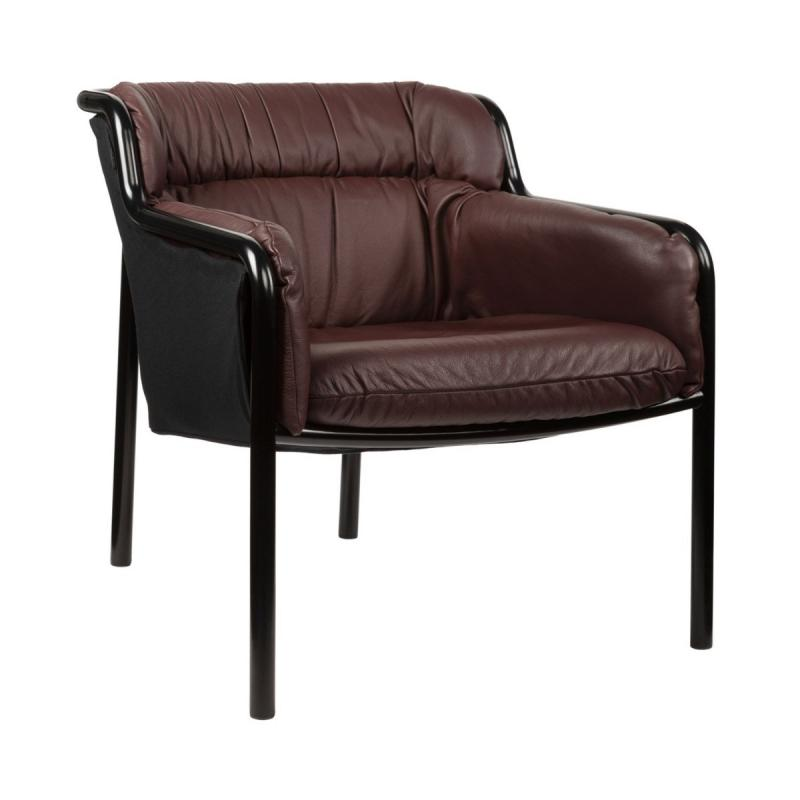 Haddoc EC Lounge Chair, Brown Leather Seat / Black Frame