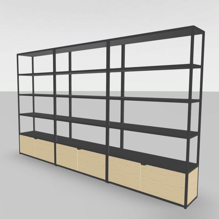 New Order Shelf, 300x180cm, With Sliding Doors, Charcoal