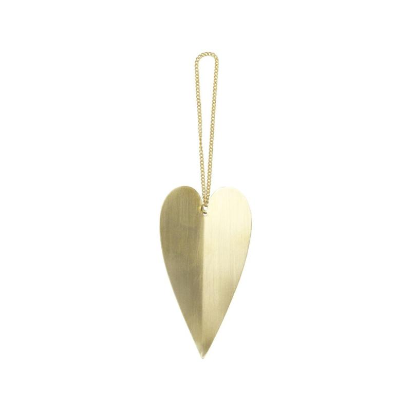 Heart Brass Ornaments, Set of 4