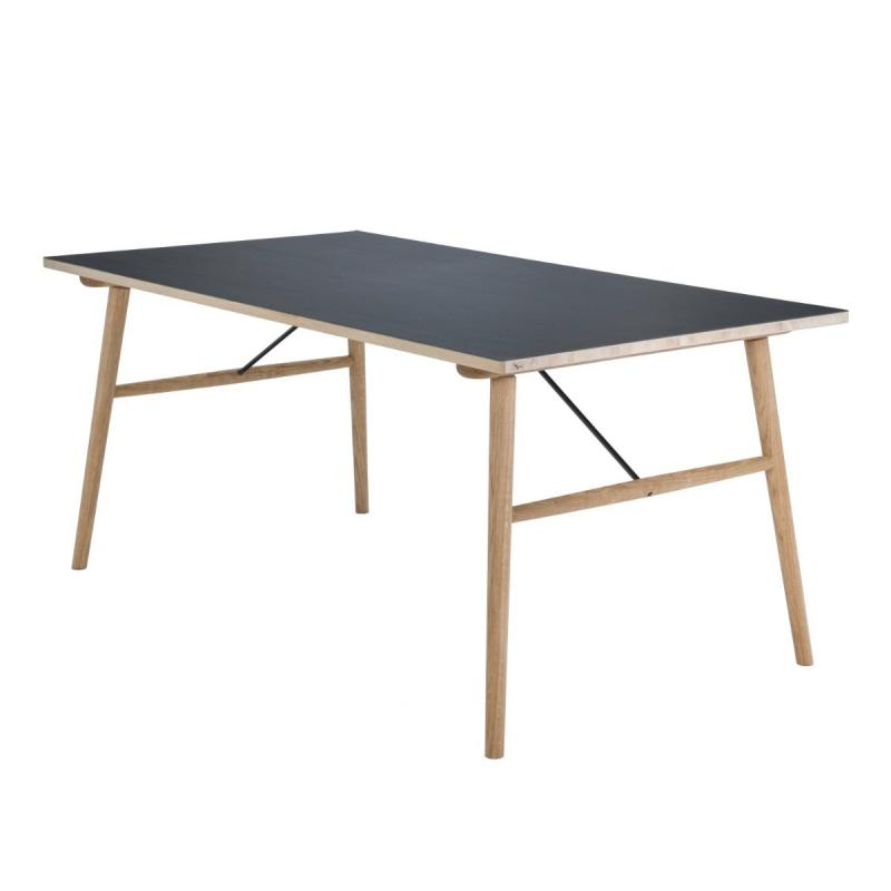 Hekla Table, 168x95cm, Black Linoleum Top / Solid Oiled Oak Legs